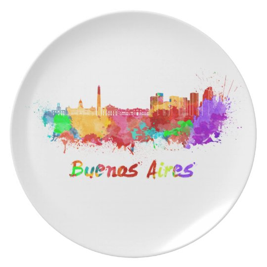 Buenos Aires skyline in watercolor Plate