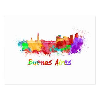 Buenos Aires skyline in watercolor Postcard