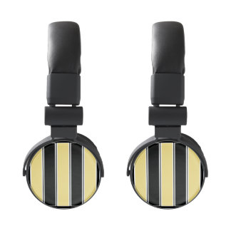 Buff and Black-Striped Headphones
