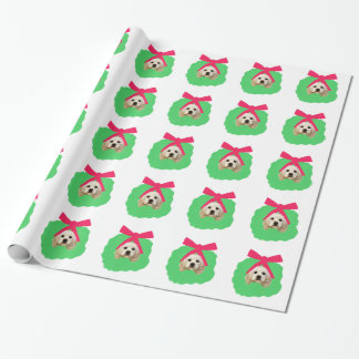 Buff Cocker Spaniel in Wreath Wrapping Paper