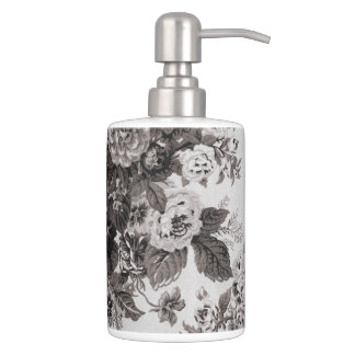 Buff Gray Taupe Vintage Floral Toile No.3 Soap Dispenser And Toothbrush Holder