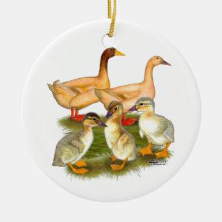 Buff Orpington Duck Family Ceramic Ornament