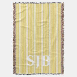 Buff Victorian Stripe with Monogram Throw Blanket