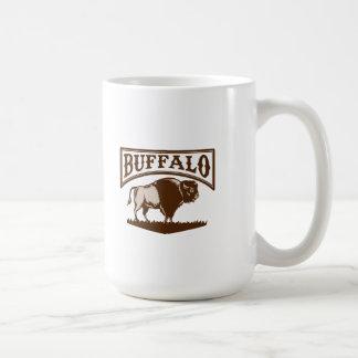 Buffalo American Bison Side Woodcut Classic White Coffee Mug