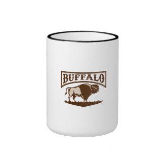 Buffalo American Bison Side Woodcut Ringer Coffee Mug