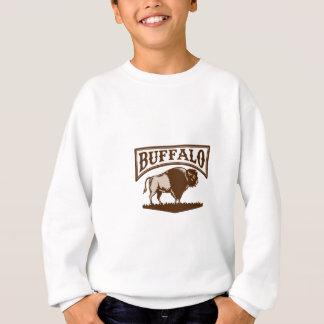 Buffalo American Bison Side Woodcut Sweatshirt