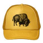 Buffalo American Bison Vintage Wood Engraving Trucker Hats