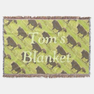 Buffalo and Calf Colored Pencil Personalized Throw Blanket