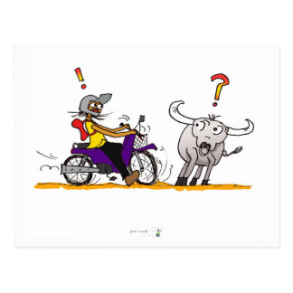 Buffalo and motorbike colorful drawing postcard