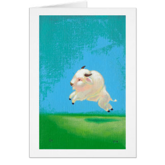Buffalo art fun happy leaping white bison painting card