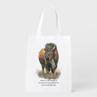 Buffalo Bison Animal Totem Spirit Guide Art Reusable Grocery Bag