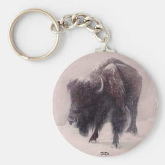 Buffalo Blizzard painting by  DiDi Basic Round Button Keychain