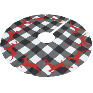 Buffalo Check and Reindeer Christmas Tree Skirt