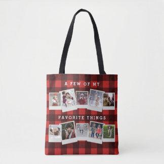 Buffalo Check Black and Red Lumberjack Photo Tote Bag