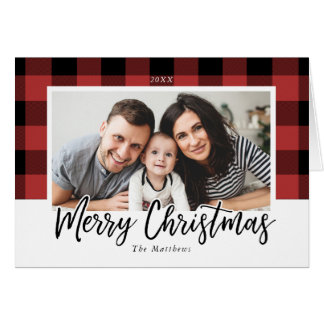 Buffalo Check Christmas Photo Greeting Card