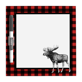 Buffalo Check Plaid & Moose Illustration Dry Erase Board