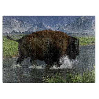 Buffalo Crossing a River Cutting Board