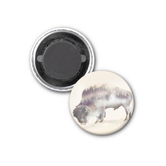 Buffalo-double exposure-american buffalo-landscape 1 inch round magnet