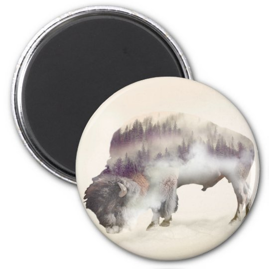 Buffalo-double exposure-american buffalo-landscape 2 inch round magnet