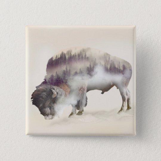Buffalo-double exposure-american buffalo-landscape 2 inch square button
