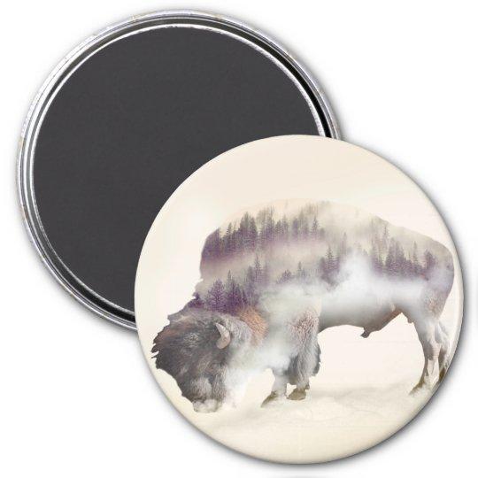 Buffalo-double exposure-american buffalo-landscape 3 inch round magnet