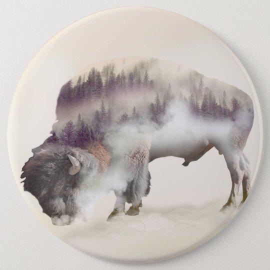 Buffalo-double exposure-american buffalo-landscape 6 inch round button