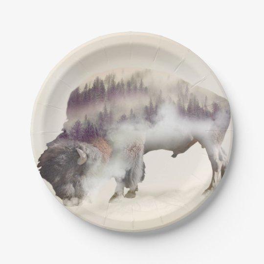 Buffalo-double exposure-american buffalo-landscape 7 inch paper plate