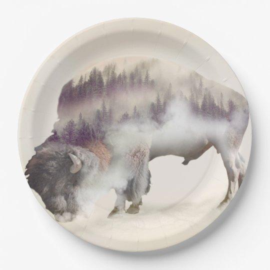 Buffalo-double exposure-american buffalo-landscape 9 inch paper plate