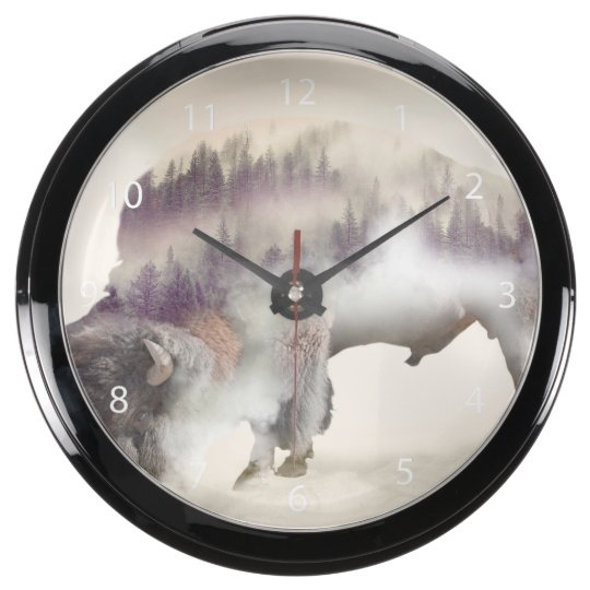 Buffalo-double exposure-american buffalo-landscape aqua clocks