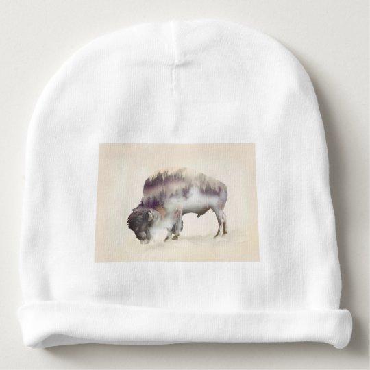 Buffalo-double exposure-american buffalo-landscape baby beanie