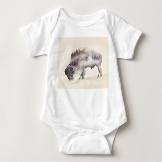 Buffalo-double exposure-american buffalo-landscape baby bodysuit