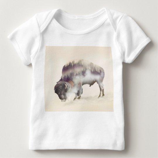 Buffalo-double exposure-american buffalo-landscape baby T-Shirt