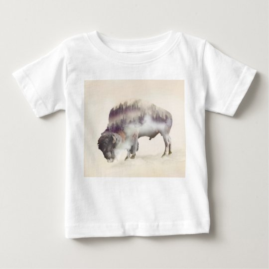 Buffalo-double exposure-american buffalo-landscape baby T-Shirt