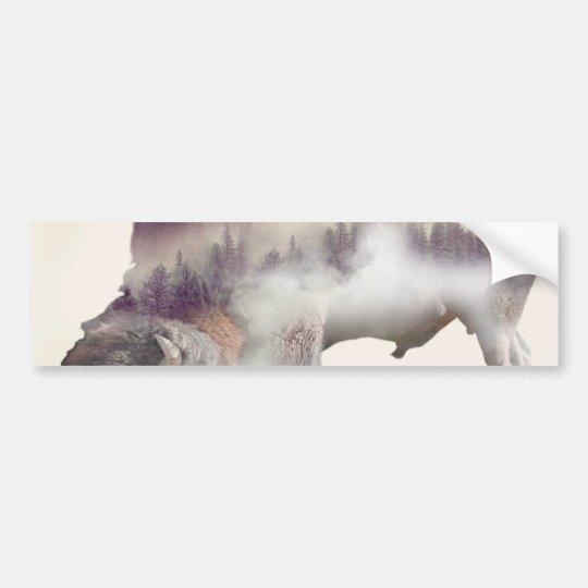 Buffalo-double exposure-american buffalo-landscape bumper sticker