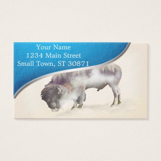 Buffalo-double exposure-american buffalo-landscape business card