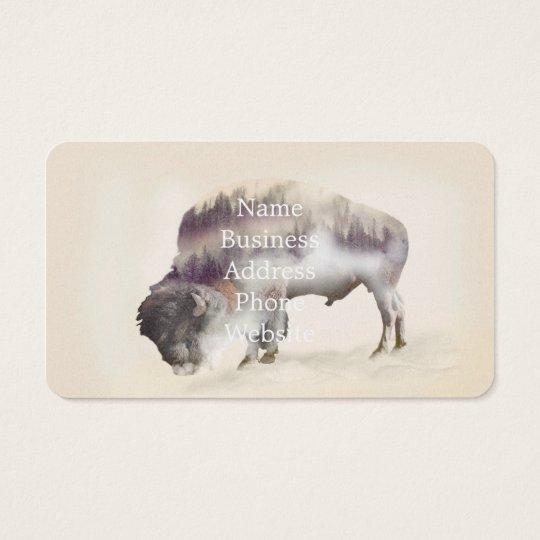 Buffalo-double exposure-american buffalo-landscape business card