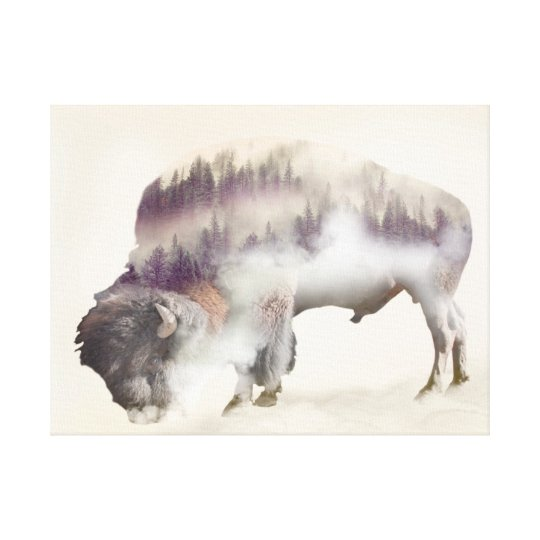 Buffalo-double exposure-american buffalo-landscape canvas print