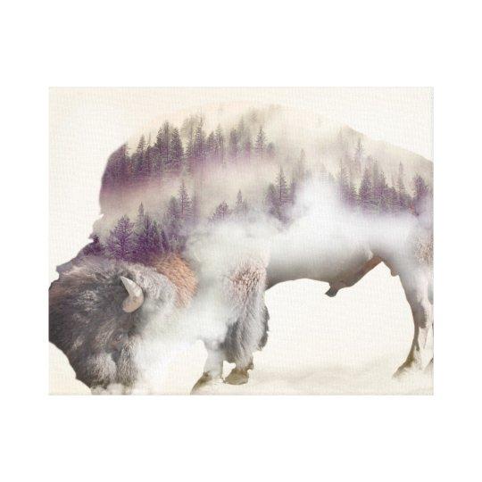 Buffalo-double exposure-american buffalo-landscape canvas print