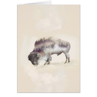Buffalo-double exposure-american buffalo-landscape card