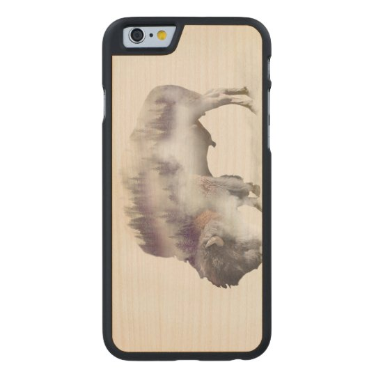 Buffalo-double exposure-american buffalo-landscape carved maple iPhone 6 case