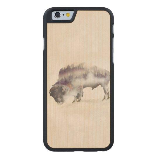 Buffalo-double exposure-american buffalo-landscape carved maple iPhone 6 case