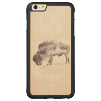 Buffalo-double exposure-american buffalo-landscape carved maple iPhone 6 plus bumper case