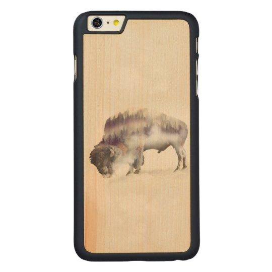 Buffalo-double exposure-american buffalo-landscape carved maple iPhone 6 plus case