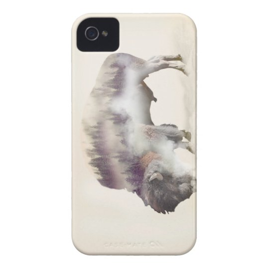 Buffalo-double exposure-american buffalo-landscape Case-Mate iPhone 4 case