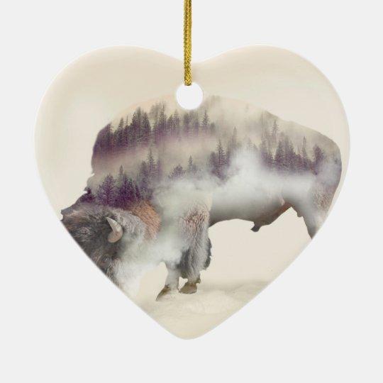 Buffalo-double exposure-american buffalo-landscape ceramic heart ornament