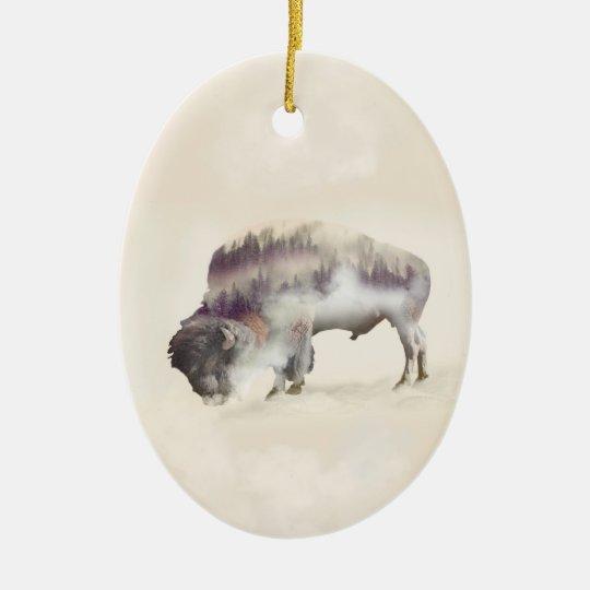 Buffalo-double exposure-american buffalo-landscape ceramic oval ornament