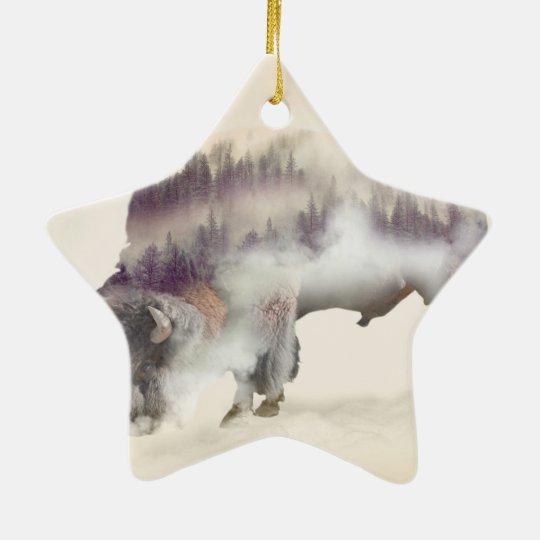 Buffalo-double exposure-american buffalo-landscape ceramic star ornament