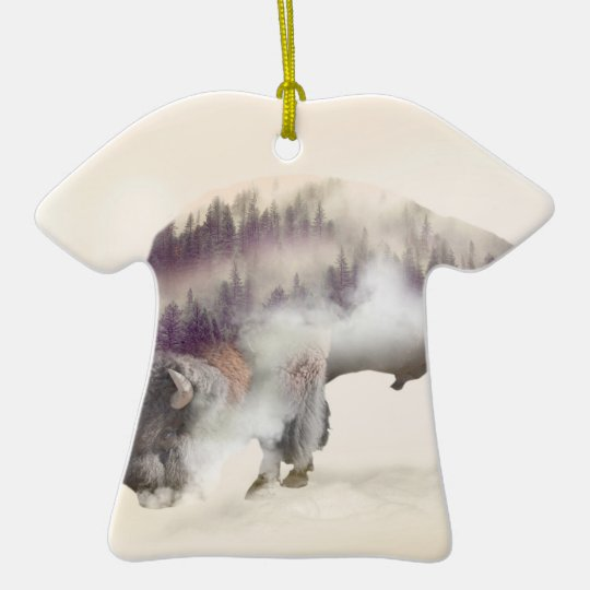 Buffalo-double exposure-american buffalo-landscape ceramic T-Shirt ornament