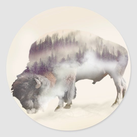 Buffalo-double exposure-american buffalo-landscape classic round sticker