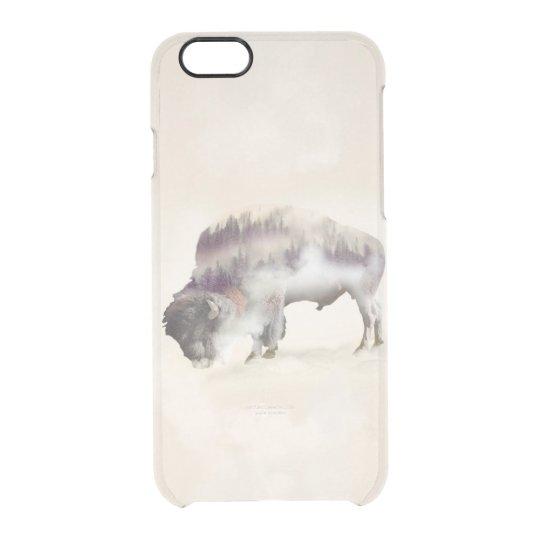Buffalo-double exposure-american buffalo-landscape clear iPhone 6/6S case